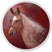 Red Roan Round Beach Towel