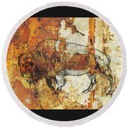 Round Beach Towel featuring the photograph Red Rock Bison by Larry Campbell