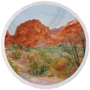 Round Beach Towel featuring the painting Red Rock Canyon by Vicki  Housel