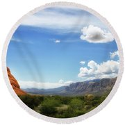 Red Rock Canyon Vintage Style Sweeping Vista Round Beach Towel