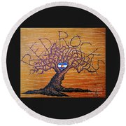 Round Beach Towel featuring the drawing Red Rock Colorado Love Tree by Aaron Bombalicki