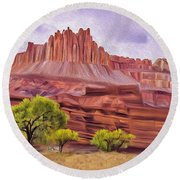 Red Rock Cougar Round Beach Towel by Walter Colvin