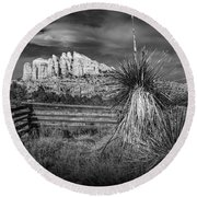 Round Beach Towel featuring the photograph Red Rock Formation In Sedona Arizona In Black And White by Randall Nyhof