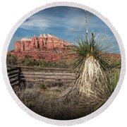 Round Beach Towel featuring the photograph Red Rock Formation In Sedona Arizona by Randall Nyhof