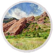 Red Rocks Amphitheatre Round Beach Towel