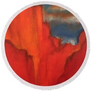 Round Beach Towel featuring the painting Red Rocks by Kim Nelson
