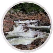 Round Beach Towel featuring the photograph Red Rocks Of Chippewa Falls by Rachel Cohen
