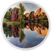 Red Rocks Reflection Round Beach Towel