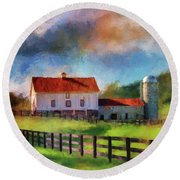 Round Beach Towel featuring the digital art Red Roof Barn by Lois Bryan