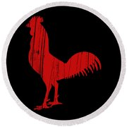 Red Rooster Tee Round Beach Towel