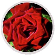 Red Rose 1a Round Beach Towel