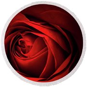 Red Rose Close Round Beach Towel
