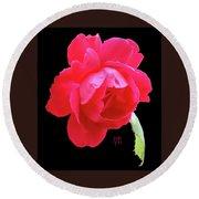 Red Rose Cutout Round Beach Towel