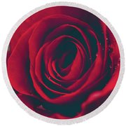 Round Beach Towel featuring the photograph Red Rose Floral Bliss by Sharon Mau