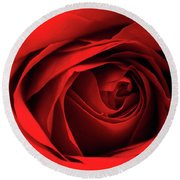 Red Rose Flower Round Beach Towel