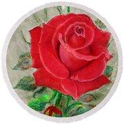 Red Rose Round Beach Towel by Jasna Dragun