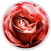 Round Beach Towel featuring the photograph Red Rose  by Mariola Bitner