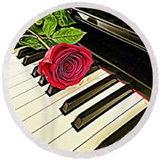 Red Rose On A Piano  Round Beach Towel