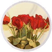 Red Rose Portrait Round Beach Towel