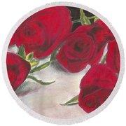 Red Rose Redux Round Beach Towel