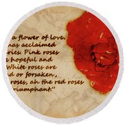 Red Rose Significance Round Beach Towel