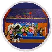 Red Rose Tea Chimpanzees Round Beach Towel
