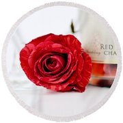 Red Rose With Champagne Round Beach Towel by Serena King