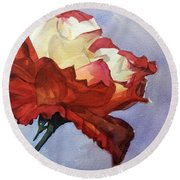 Watercolor Of A Red And White Rose On Blue Field Round Beach Towel