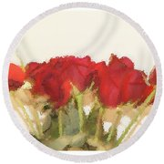 Red Roses Under Glass Round Beach Towel by Margie Avellino