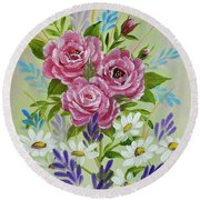 Red Roses Alla Prima Round Beach Towel by Jimmie Bartlett