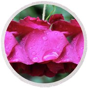 Red Roses And Raindrops Round Beach Towel