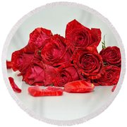 Red Roses And Rose Petals Round Beach Towel by Serena King