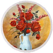 Red Roses In A White Pitcher Round Beach Towel