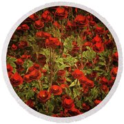Red Roses Round Beach Towel