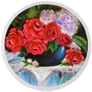 Red Roses Round Beach Towel by Jenny Lee