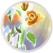 Round Beach Towel featuring the painting Red Roses With Holly In A Vase by Kip DeVore