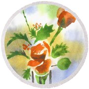 Round Beach Towel featuring the painting Red Roses With Holly by Kip DeVore
