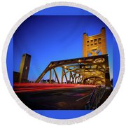 Round Beach Towel featuring the photograph Red Runner- by JD Mims