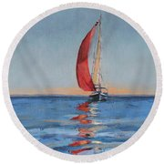 Red Sail Early Sunset Round Beach Towel