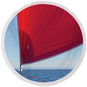 Round Beach Towel featuring the photograph Red Sail On A Catamaran 2 by Clare Bambers