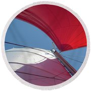 Round Beach Towel featuring the photograph Red Sail On A Catamaran 3 by Clare Bambers