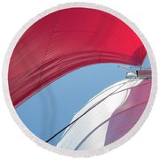Round Beach Towel featuring the photograph Red Sail On A Catamaran 4 by Clare Bambers