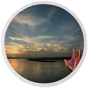 Round Beach Towel featuring the photograph Red Sails In The Sunset by Carol Lynn Coronios