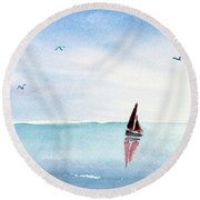 Red Sails On A Blue Sea Round Beach Towel