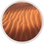 Round Beach Towel featuring the photograph Red Sand Dune Ripples In Detail by Keiran Lusk