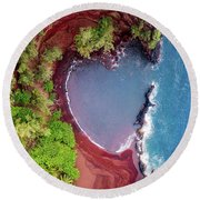 Red Sand Heart Round Beach Towel