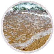 Red Sea Meets The Beautiful Sandy Beach 2 Round Beach Towel