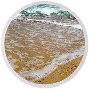 Red Sea Meets The Beautiful Sandy Beach 2 Round Beach Towel