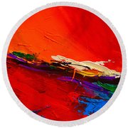 Round Beach Towel featuring the painting Red Sensations by Elise Palmigiani