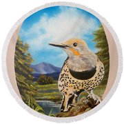 Flying Lamb Productions                       Red Shafted Flicker Round Beach Towel